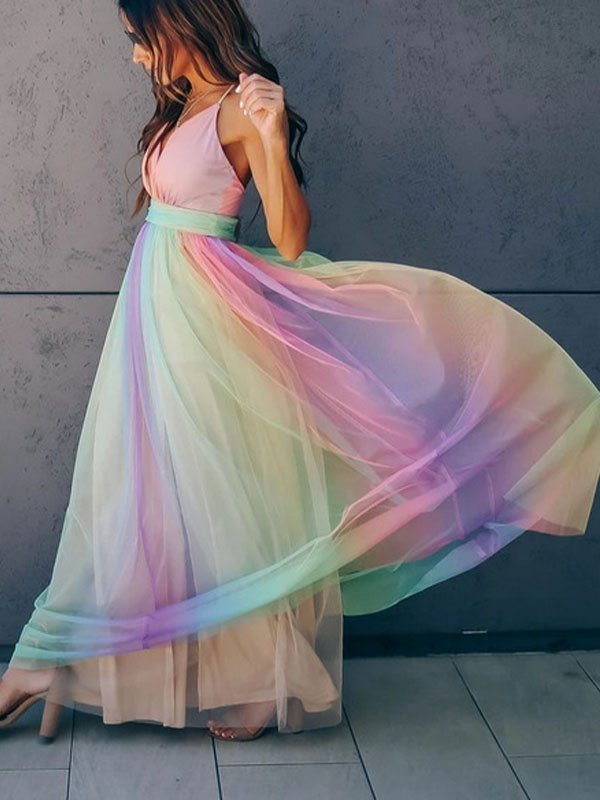 Mesh Paneled Rainbow Maxi Dress - Pink L