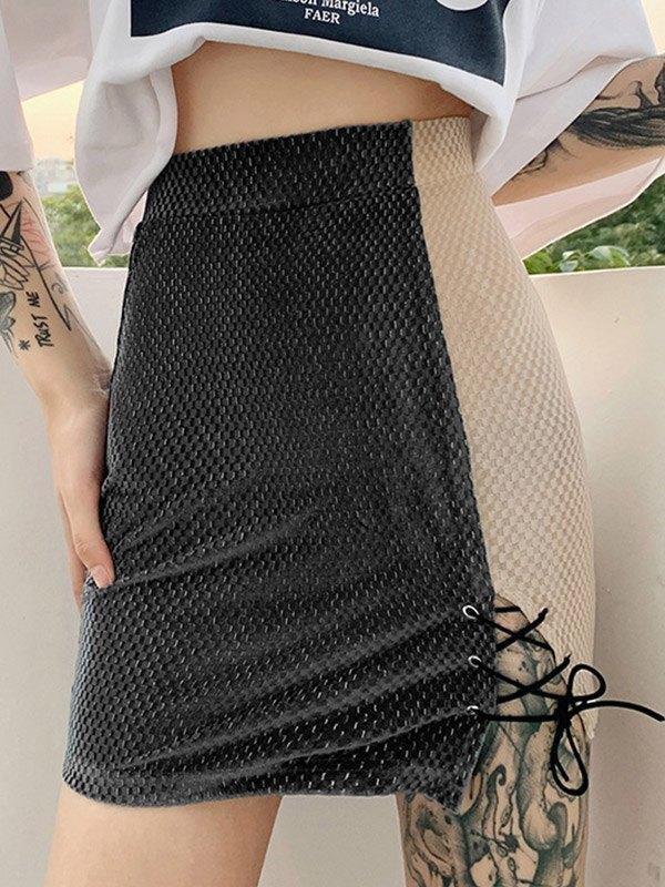 Textured High Waist Wrap Mini Skirt - Gray M