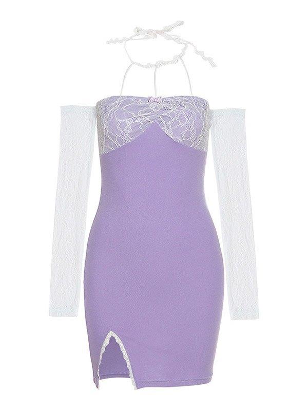Lace Sleeve Halter Mini Dress - Purple M