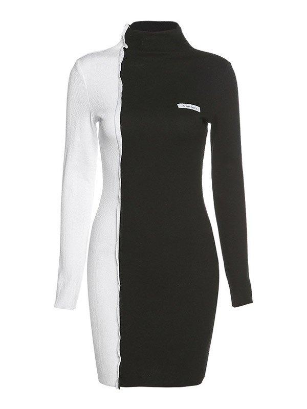 Two-Tone Splice Mini Dress - Black M