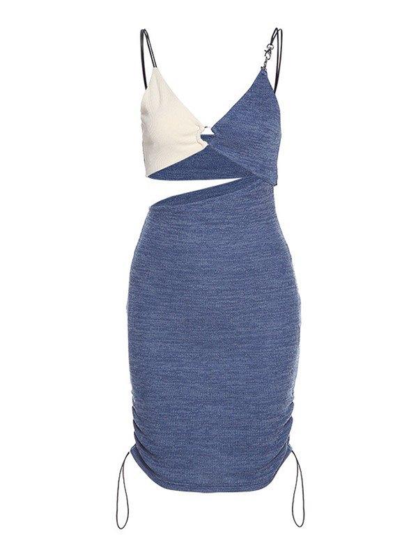 Color Block Cutout Wrap Mini Dress - Blue M
