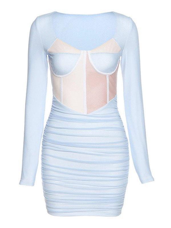 Long Sleeve Splice Ruched Mini Dress - Blue L