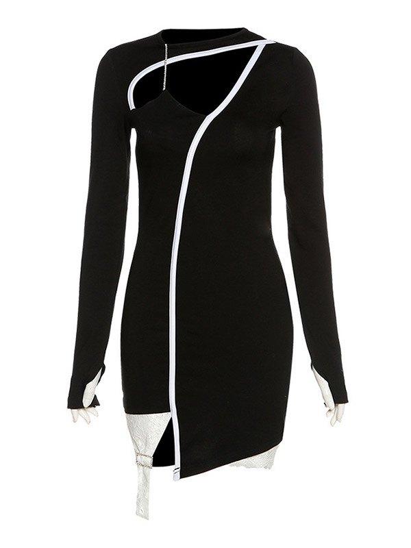 Cutout Irregular Wrap Mini Dress - Black L
