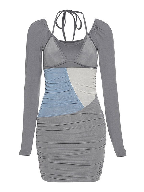 Color Block Halter Mini Dress - Gray S