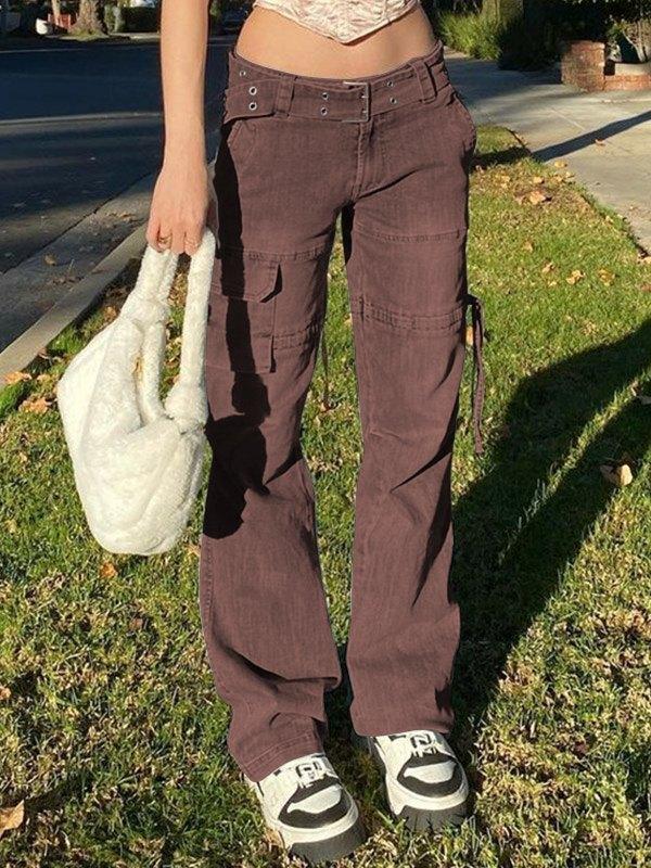 Mid Waist Splice Cargo Jeans -