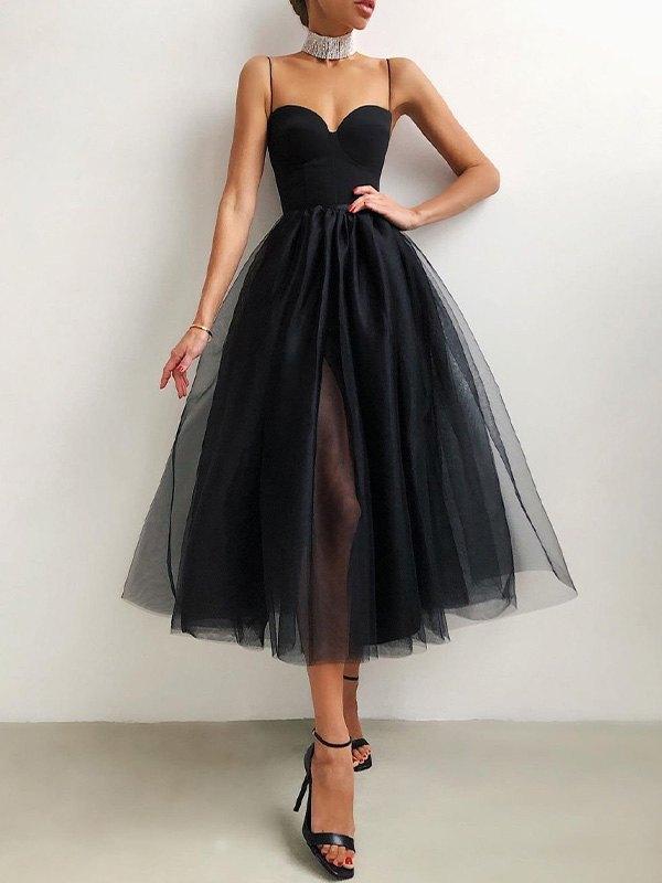 Vintage Mesh Slip Maxi Dress - Black L