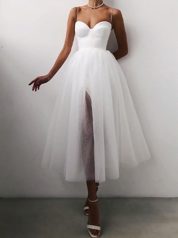 Vintage Mesh Slip Maxi Dress - White S