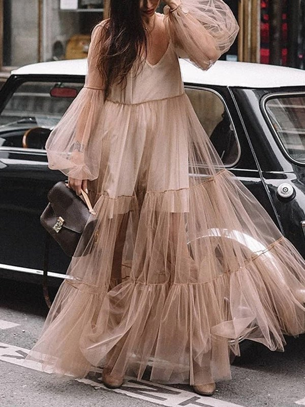 Sheer Mesh Tiered Maxi Dress - Brown XL