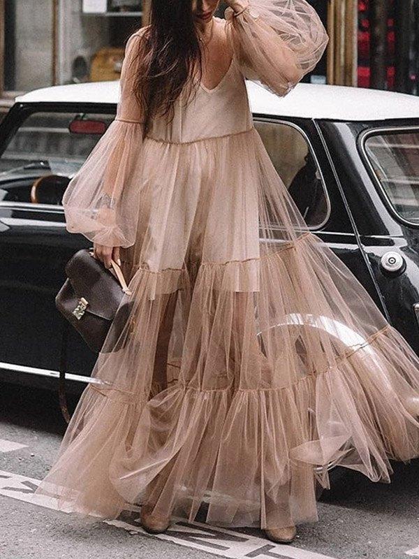 Sheer Mesh Tiered Maxi Dress - Brown S