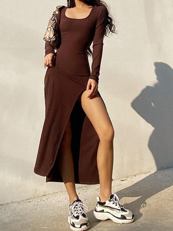 Long Sleeve Ribbed Maxi Dress - Coffee M