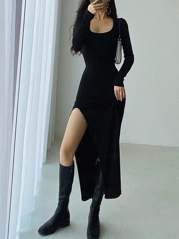 Long Sleeve Ribbed Maxi Dress - Black M