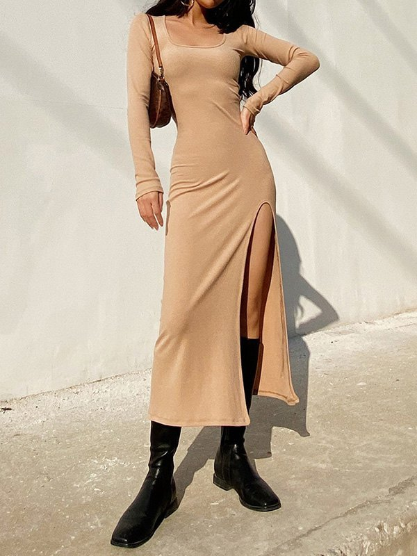 Long Sleeve Ribbed Maxi Dress - Brown S
