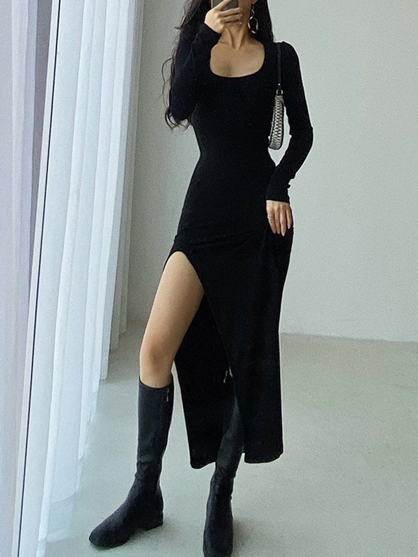 Long Sleeve Ribbed Maxi Dress - Black S