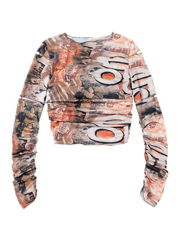 Cutout Printed Crop Top - multicolorple Colors L