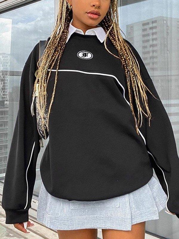 Piping Detail Oversize Sweatshirt - Black L