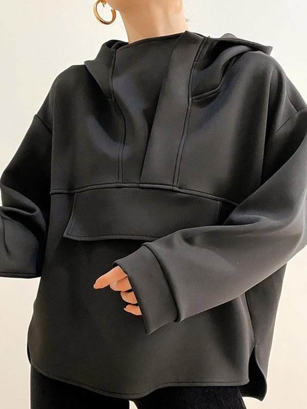 Splice Long Sleeve Oversize Hoodie - Black M