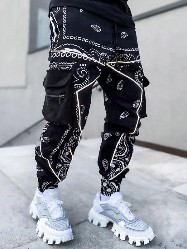 Men's Paisley Print Tapered Pants - Black 3XL