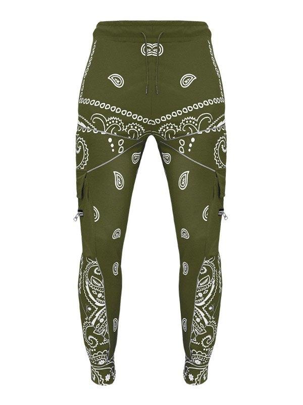Men's Paisley Print Tapered Pants - Green 3XL