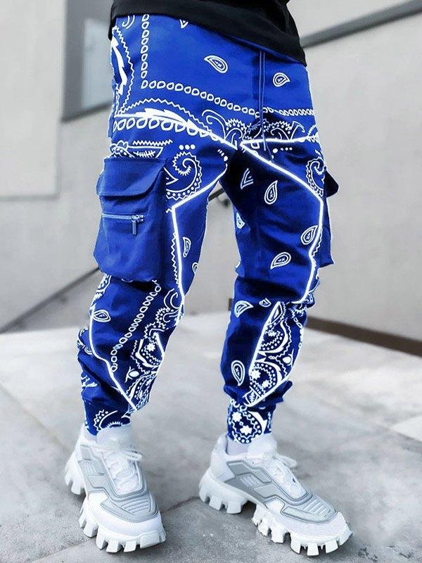 Men's Paisley Print Tapered Pants - Blue M