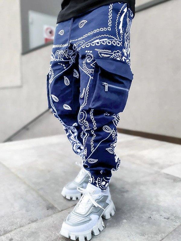 Men's Paisley Print Tapered Pants - Navy Blue 3XL
