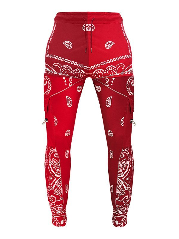 Men's Paisley Print Tapered Pants - Red 3XL