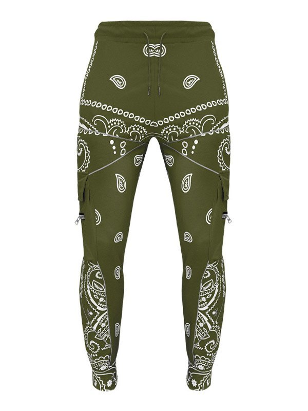 Men's Paisley Print Tapered Pants - Green XL