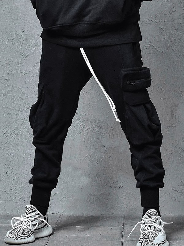 Men's Plush Lined Cargo Pants - Black M