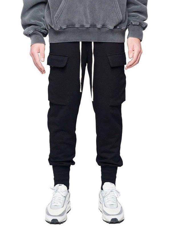 Men's Pocket Patched Sweat Pants - Black L