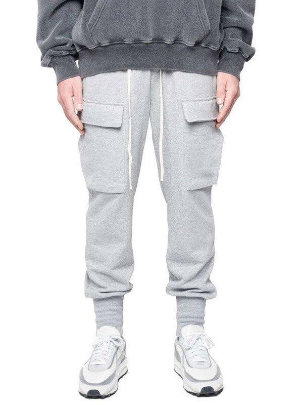 Men's Pocket Patched Sweat Pants - Light Gray XL