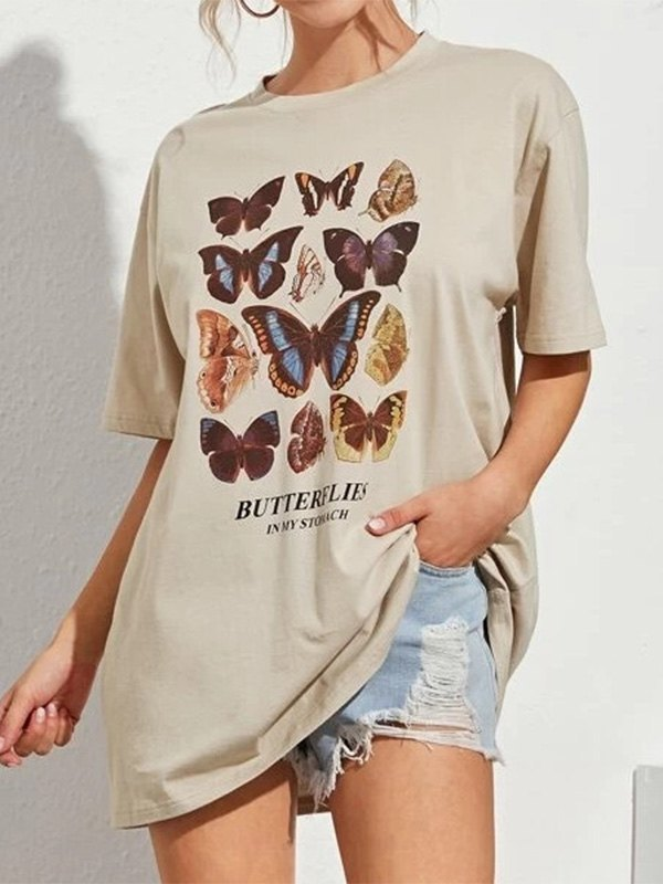 Butterfly In My Stomach Tee - Khaki S