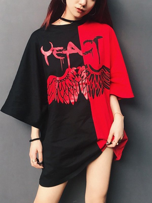 Angel Wing Contrast Oversize Tee - Red S