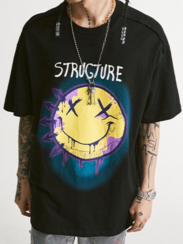 Smiley Structure Oversize Tee - Black S