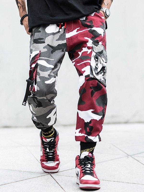 Men's Camo Cargo Pants - Red XL