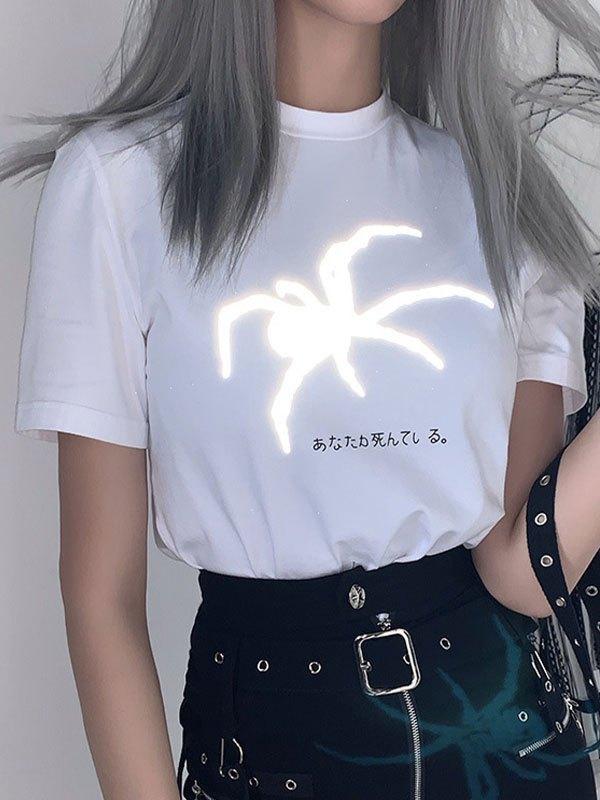 Reflective Spider Print Tee - White S
