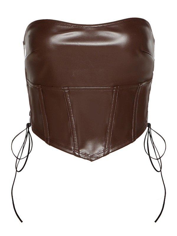 Faux Leather Side Tie Bandeau Top - Brown M