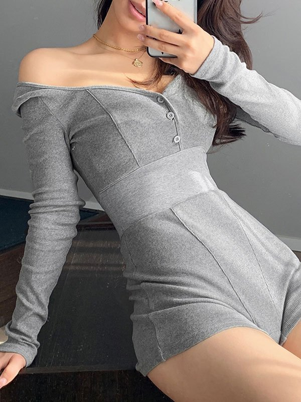 Open Back Buttoned Long-Sleeve Romper - Gray L