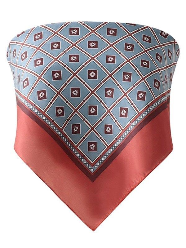 Vintage Print Handkerchief Bandeau Top - Burgundy L