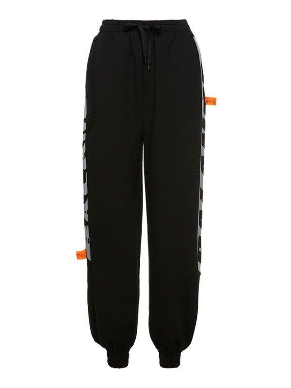 Side Letter Print Jogger Pants - Black S