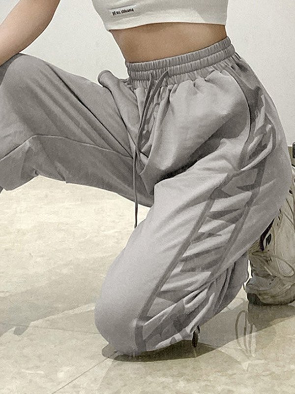 Side Letter Print Jogger Pants - Gray L