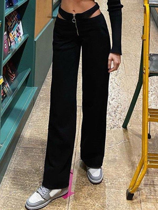 Cutout Waist Straight Pants - Black M