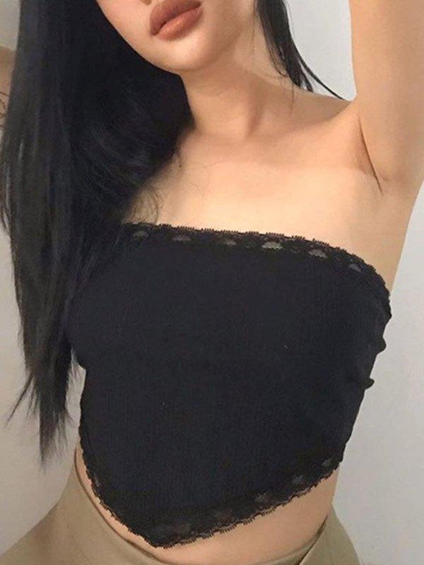 Lace Trim Crop Bandeau Top - Black S