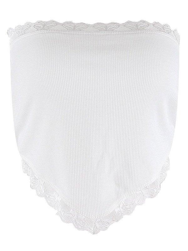 Lace Trim Crop Bandeau Top - White M