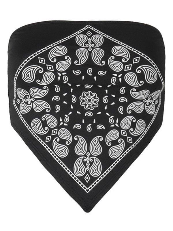 Paisley Print Crop Bandeau Top - Black M