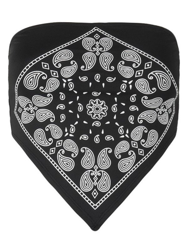 Paisley Print Crop Bandeau Top - Black L