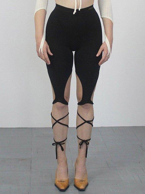 Irregular Bandage Yoga Shorts - Black L