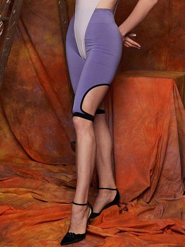 Irregular Bandage Yoga Shorts - Purple L