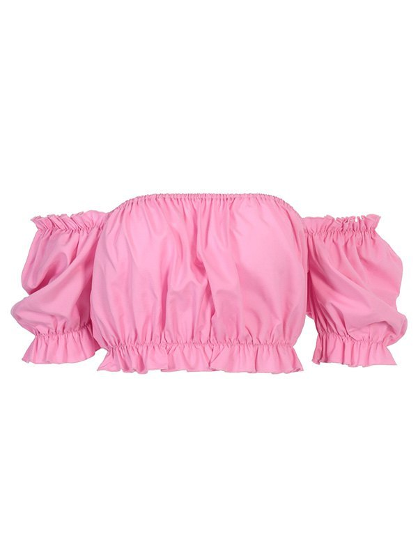 Puff Sleeve Bandeau Top - Pink L