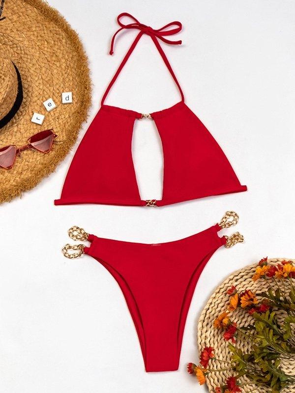Cutout Halter Bikini Set - Red L