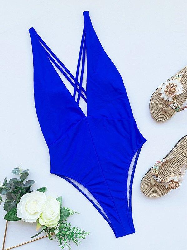 Plunge Neck Stripe One-Piece Swimsuit - Blue L