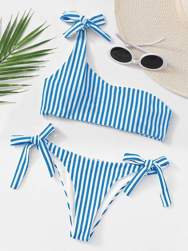 Lace-Up Striped Bikini Set - Blue L